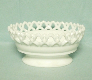"Imperial Glass Milkglass 7 1/2"" Open Lace Oval Bowl - Product Image"