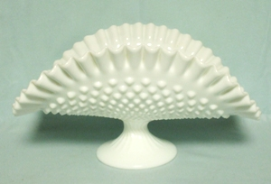 Fenton Hobnail Milkglass #3720 Ftd Banana Bowl - Product Image