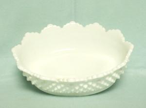 "Fenton Hobnail Milkglass #3625 8"" Oval Bowl - Product Image"