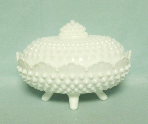 Fenton Hobnail Milkglass #3786 Oval Ftd. Candy Box & Lid - Product Image