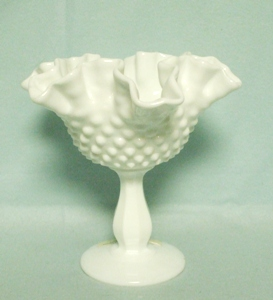 "Fenton Hobnail Milkglass #3628 6"" Ftd DC Compote - Product Image"