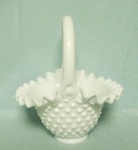 "Fenton Hobnail Milkglass #3837 7"" Basket - Product Image"