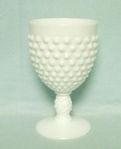 "Fenton Hobnail Milkglass #3845 5 1/2"" Ftd Water Goblet - Product Image"