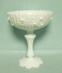 Fenton Milkglass Rose Large Comport - Product Image