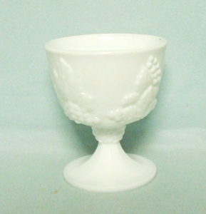 Indiana Glass Milkglass Harvest Grape Pattern Footed Sugar - Product Image