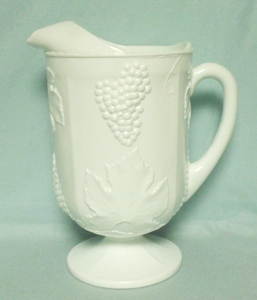 Indiana Glass Milkglass Harvest Grape Pattern Ftd Pitcher - Product Image