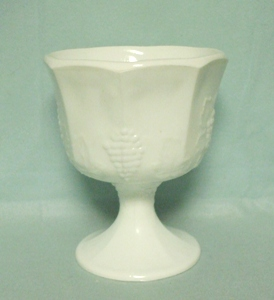 Indiana Glass Milkglass Harvest Grape Pattern Octagon Planter - Product Image