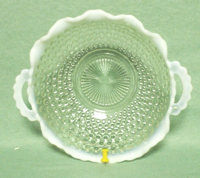 "Moonstone Opalescent Hobnail 6 1/2"" Crimped Handled Bowl - Product Image"
