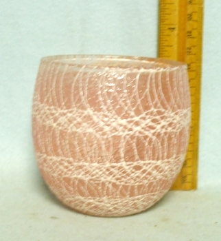 50s Light Rose Roly Poly Rubberized Spagetti String Glass - Product Image