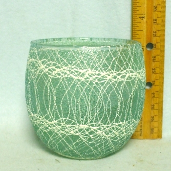 50s Light Teal Roly Poly Rubberized Spagetti String Glass - Product Image