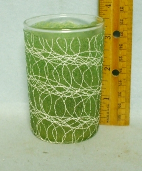 50s Olive Green Small Juice Rubberized Spagetti String Glass - Product Image