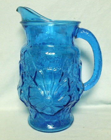 A.H. Dark Blue Rain Flower Pitcher w Ice Lip - Product Image