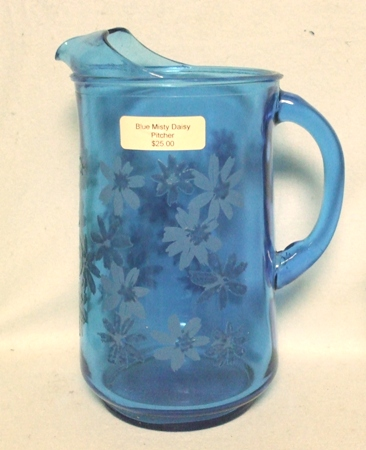 A.H. Finlandia Blue Misty Daisy Pitcher w Ice Lip - Product Image