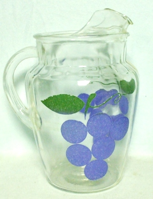 Anchor Hocking Textured Grapes Pitcher w Ice Lip - Product Image