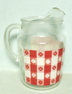 Bartlette Collins Checker Board & Daisy 86 oz.Pitcher w Ice Lip - Product Image