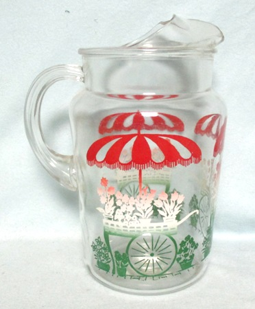 Bartlette Collins Red,White & Green Flower Cart w Unbrella.Pitcher w Ice Lip - Product Image