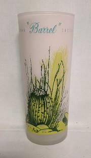 Blakley Oil Frosted Ice Tea Glass w Barrell Cactus - Product Image