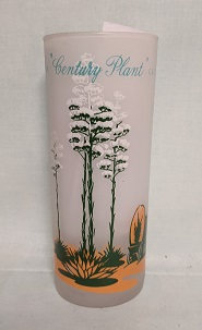 Blakley Oil Frosted Ice Tea Glass w Century Plant Cactus - Product Image