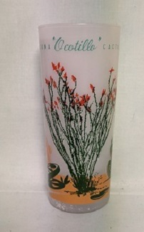 Blakley Oil Frosted Ice Tea Glass w Ocotillo Cactus - Product Image