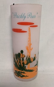 Blakley Oil Frosted Ice Tea Glass w Prickley Pear Cactus - Product Image