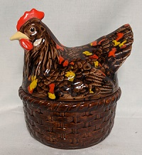 Ceramic Brown w Red & Yellow Speckles Hen on Nest - Product Image
