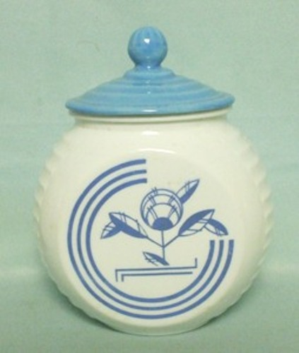 Fire king Blue Circles on Vitrock Grease Jar - Product Image
