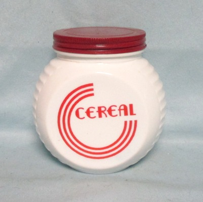 Fire king Red Circles on Vitrock Cereal Jar w Screw-on Lid - Product Image