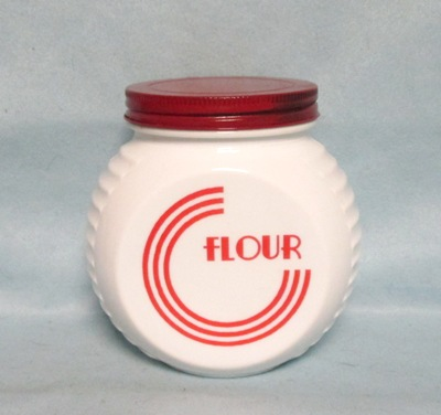 Fire king Red Circles on Vitrock Flour Jar w Screw-on Lid - Product Image