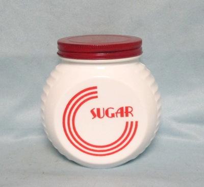 Fire king Red Circles on Vitrock Sugar Jar w Screw-on Lid - Product Image