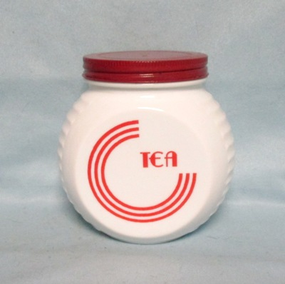 Fire king Red Circles on Vitrock Tea Jar w Screw-on Lid - Product Image