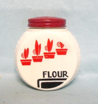 Fire king Red Flower Pots on Vitrock Flour Shaker - Product Image