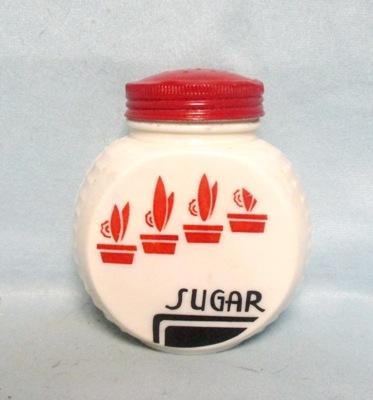 Fire king Red Flower Pots on Vitrock Sugar Shaker - Product Image
