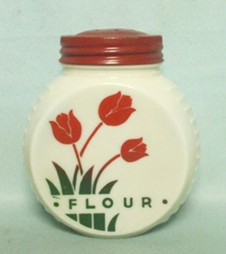 Fire king Red Tulips on Vitrock Flour Shaker - Product Image