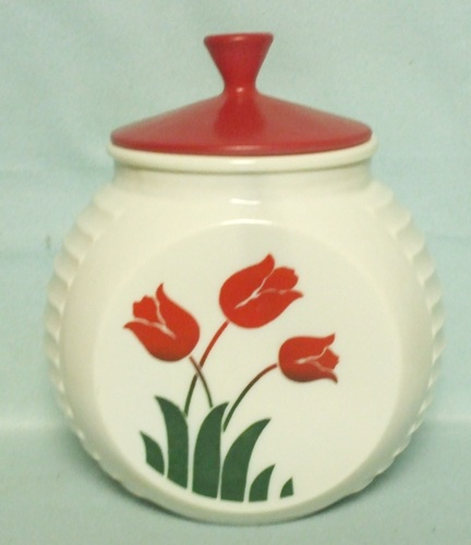 Fire king Red Tulips on Vitrock Grease Jar - Product Image