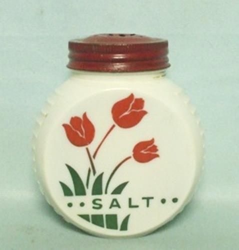 Fire king Red Tulips on Vitrock Salt Shaker - Product Image