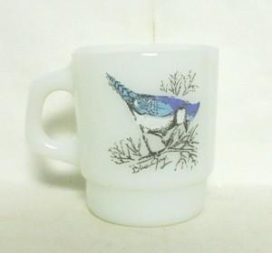 Fireking Blue Jay & Cardinal Bird Stackable Mug - Product Image