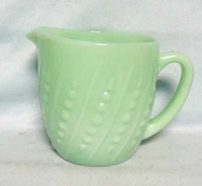 Fireking Jadite Bead and Bar Milk Pitcher - Product Image