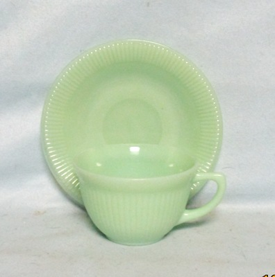 Fireking Jadite Jane Ray Cup & Saucer set - Product Image