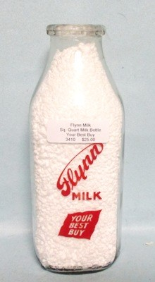 Flynn Milk Your Best Buy 1 Quart Square Milk Bottle Red Label - Product Image