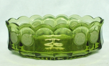 "Fostoria Green Coin Glass Oval 9"" Bowl - Product Image"