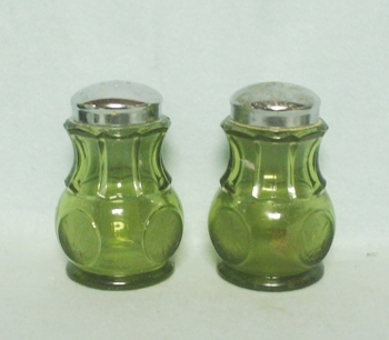 Fostoria Green Coin Glass Salt and Pepper - Product Image