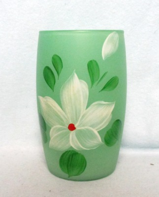"Gay Fad Frosted Green w White Flower Barrel Shaped 5 1/2"" Glass - Product Image"
