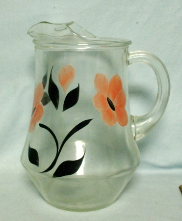 Gay Fad/Bartlette Collins Pink w Black Flowered Water Pitcher - Product Image