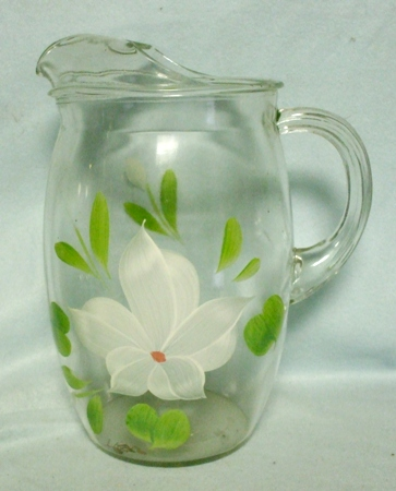 "Gay Fad/Bartlette Collins White Flowered Barrel Shaped 9 1/2""Pitcher - Product Image"