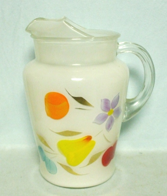 """Gay Fad/Bartlette Collins White w Fruit 9 1/2""""Pitcher - Product Image"""