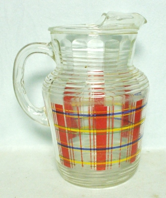 H.A. Red,Yellow & Blue Plaid Pitcher w Ice Lip - Product Image
