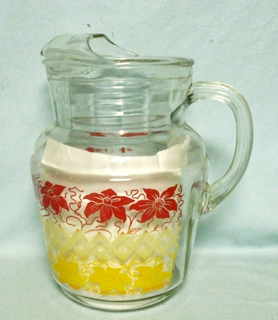 H.Atlas Red & Yellow Flowers on A Fence Pitcher w Ice Lip - Product Image
