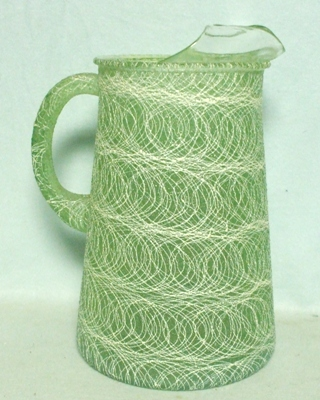 Hazel Atlas Green w White Squiggles Rubberized Pitcher w Ice Lip - Product Image