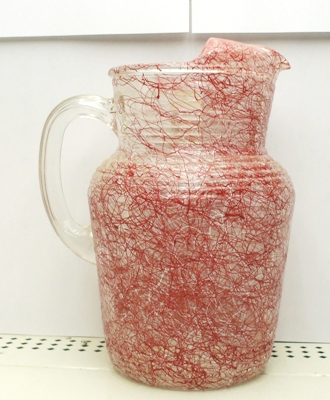 Hazel Atlas Red & White Spagetti String Pitcher w Ice Lip - Product Image