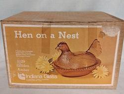 Indiana Glass Autumn Amber Hen on Nest w Box - Product Image
